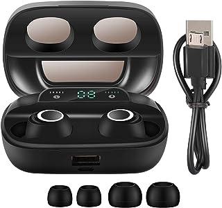 Ymiko 5.0 Auriculares Bluetooth Pantalla LED de batería Auriculares inalámbricos con micrófono de Pantalla Digital TWS(S11 binaural Negro)