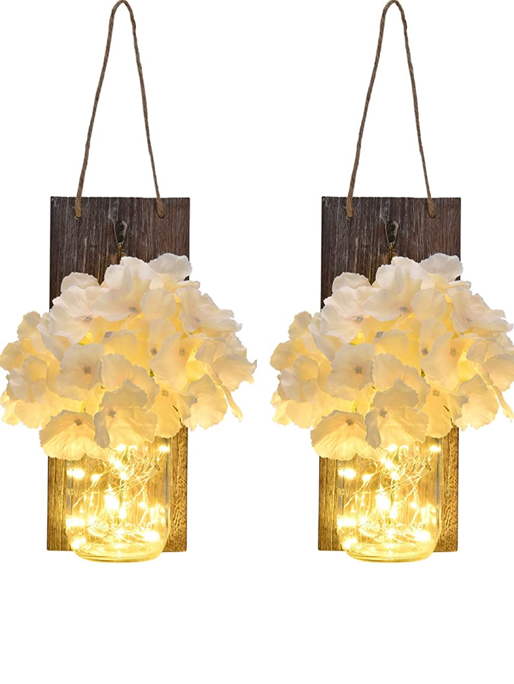 Linkbro Mason Jar Sconce Rustic Home Decor With Timer Function [2 Pack] Smarter Farmhouse Wall Decor For Living Room, Bathroom (2.Gen.), Also As Rustic Sconces, With Fairy Lights And Flowers
