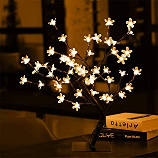 Luz LED de Cerezo Luz LED Decorativa de Flor de Cerezo Romántica Luz de Noche de Árbol Bonsai con 48 LED Blancos Cálidos Lámpara de Noche Decoración para el Hogar/Dormitorio/Escritorio/Fiesta/Boda