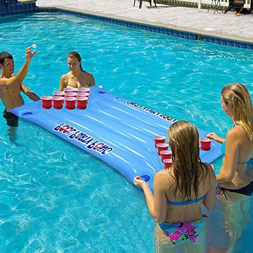 Schwimmender Bierpong - Beer Pong Luftmatratze Für Den Pool - 145 X 60cm Aufblasbare Bier Pong/Bier Pong Pool Float, Spiel Pool Party Float