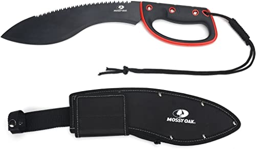 wholesale MOSSY OAK 18-inch Kukri Machete, 12-inch Black sale Blade with Saw Back, wholesale Full Tang TPR Handle with Lanyard, Solid Nylon Sheath Included outlet online sale
