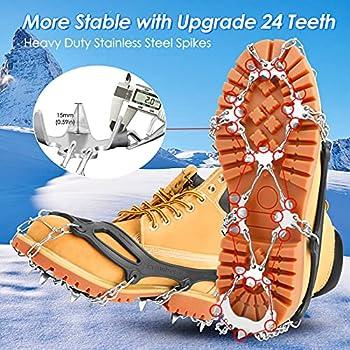 IOOYU Crampons pour Chaussures Antidérapant, Crampons en Acier Inoxydable avec 24 Dents pour Progression sur la Neige, la Glace, Les Randonnées, la Chasse, Escalade et Alpinisme en Hiver