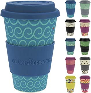 ebos Lucky Charm Coffee Cup Silicone lid   Made Organic Natural Bamboo Fibre   Reusable, eco-Friendly   Takeaway Coffee Cup lid, Travel Mug   Various Designs (Cool Waves)