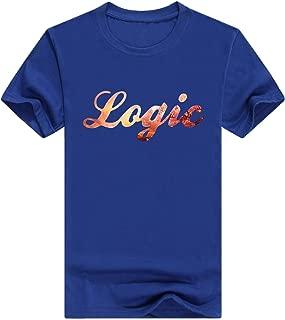 Logic Rattpack Rap Hip Hop Funny Mens Pullover Cotton T-Shirt Print(Medium,Blue)