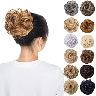 Scrunchy Updo Wavy Straight Hair Bun Messy Donut Elastic Chignons Wrap Around Synthetic Ponytail Hairpiece Hair Extension