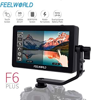 Feelworld F6 Plus DSLR On Camera Field Monitor 5.5 Inch Touch Screen 3D Lut Small Full HD 1920x1080 IPS Peaking Focus Video Assist 4K HDMI 8.4V DC Input Output