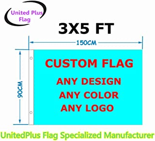 3`x5` Custom Flag or Banner 3x5 Foot(150X90cm) - Very Clear Vivid Color 100D Polyester - Advertising Banner Outdoor Indoor - Any Color Any Design Any Size Any Pictures -Digital Print