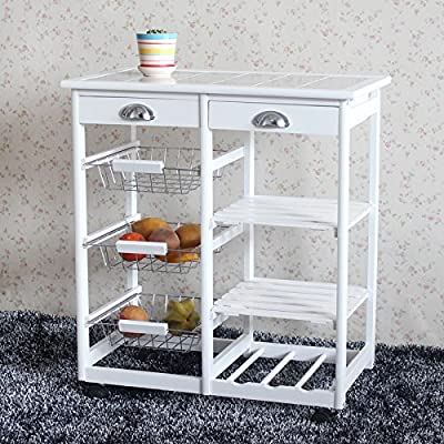 TiTa-Dong Rolling Kitchen Island,Kitchen/Home Storage Serving Cart,Trolley Table Utility Cart Rack on The Wheel with 2 Drawers,6 Wire Shelf by TiTa-Dong