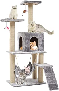 Seemo Cat Tree Tower Cat Tree House Cat Tree Condo 4.1ft (125cm) Wood Rattan Pet Supplies with Versatile Safe Bed Easy to ...