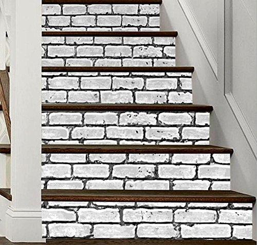 Autocollant escalier 3D motif brique mural bricolage auto-adhesiveRefurbished Ballon PVC respectueux de l'art mural Papier peint Décoration maison ,amovible facile à appliquer,1 Jeu (6 pc)