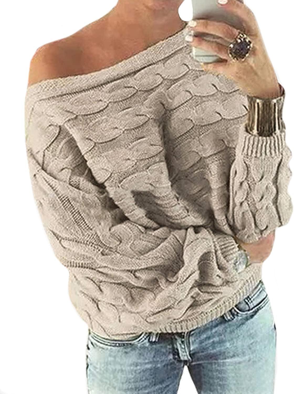 YOINS - Jersey para mujer, mangas tipo murciélago, hombro descubierto, con flor Sin