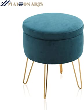 MAISON ARTS Velvet Round Ottoman with Storage Foot Stool Vanity Stool Seat Dressing Chair Footrest Side Table Tufted Ottoman