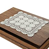 gracebuy 19 Inch by 23 Inch Beige Rectangle Handmade Cotton Crochet Lace Doilies Tablecloths Tablemat