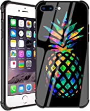 iPhone 8 Plus Case, iPhone 7 Plus Case Fashion Pineapples Pattern Black Design Slim Fit Tempered Glass Back Cover with Soft Silicone TPU Shockproof Bumper Case for iPhone 7 Plus/8 Plus 5.5inch