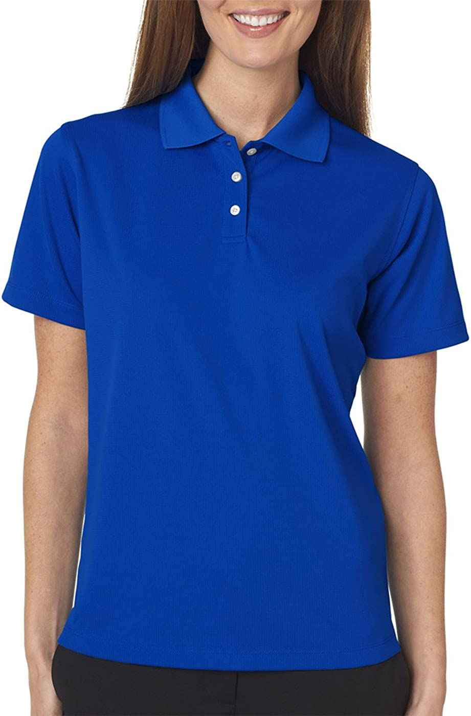 UltraClubs Women's Cool & Dry Stain-Release Performance Polo Tee, Royal, Small