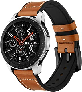 Kartice Compatible Galaxy Watch (46mm) Bands,Gear S3 Bands,22mm Hybrid Rubber Leather Strap Replacement Buckle Wrist Band for Samsung Galaxy Watch SM-R800 Smart Watch (46mm) Smartwatch(Hybrid-Brown)