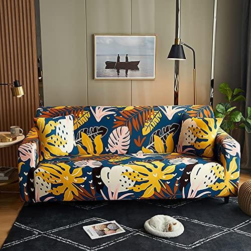 WXQY Funda de sofá con Estampado de Sala de Estar, Todo Incluido elástica Resistente al Desgaste, Estampado de Flores Azul Marino, Funda de sofá Antideslizante A3 de 3 plazas