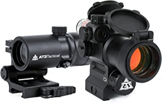 AT3 4X Magnified Red Dot with Laser Sight Kit - 2 MOA Red Dot with Laser Sight and 4X Magnifier