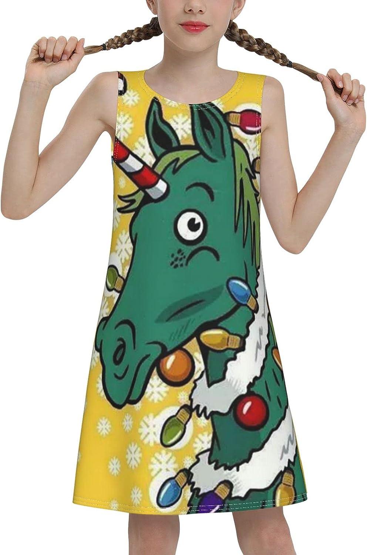 YhrYUGFgf Christmas Horse Sleeveless Dress for Girls Casual Printed Vest Skirt