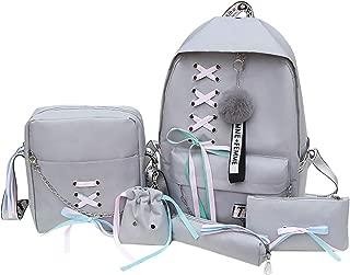 Bageek 5PCS Fashion Casual School Backpack Womens Bag Set Shoulder Bag Pouch Set Decor