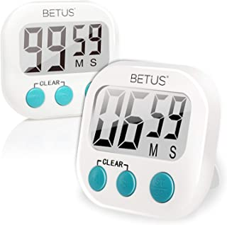 Betus 2 Pack Digital Kitchen Timer - Big Digits, Simple Operation and Loud Alarm - Magnetic Backing or Table Stand - Stopwatch Count Up and Down for Cooking Baking Sports Games Office