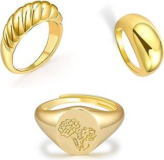 EXGOX 3 قطع خواتم سميكة مقبب مكتنزة للنساء صناعة يدوية زهرة خاتم ختم 14K مطلية بالذهب بيان الدائري 6-9 الحجم