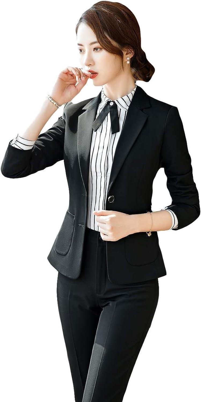 SK Studio Women's 2 Piece Regular Fit Business Suit Formal Blazer and Pants/Skirt Set