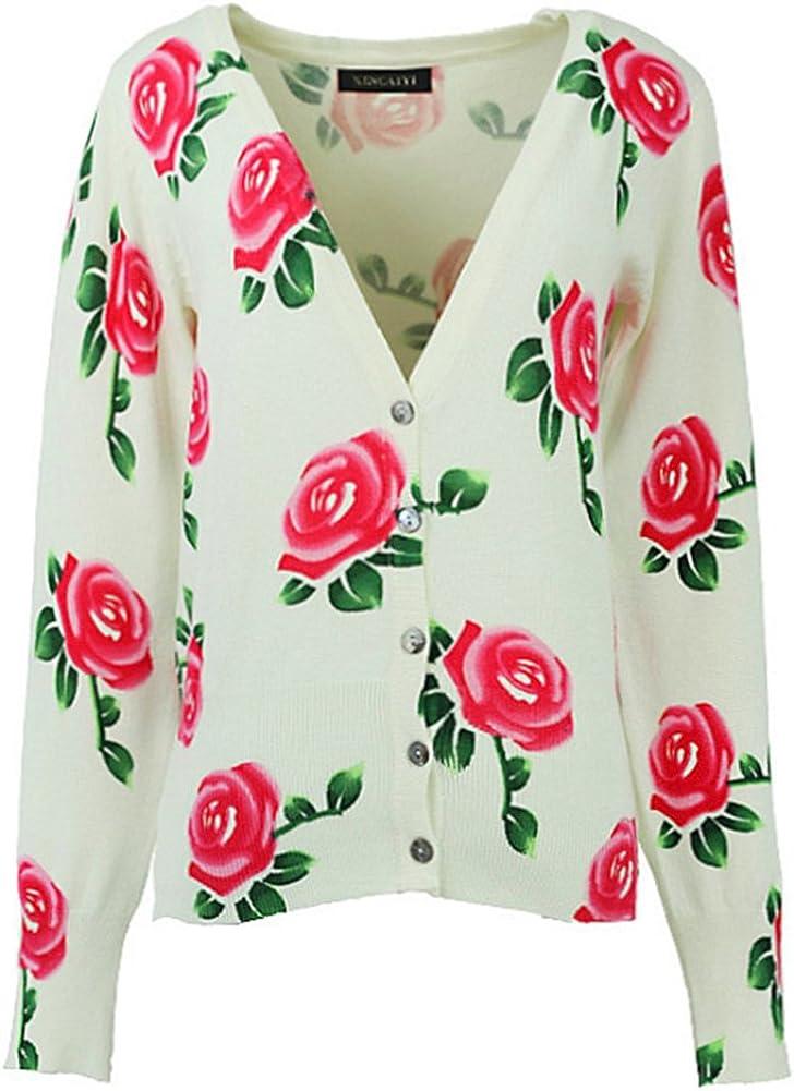 Locomo White Colorful Rose Flower Floral Print Pattern Cardigan Shrug FFJ036