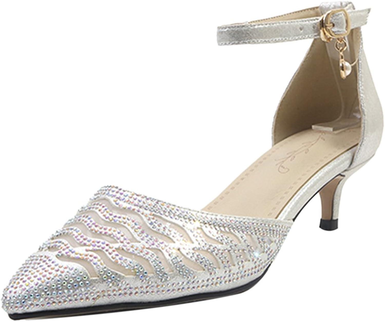 AicciAizzi Women Kitten Heel Sandals Rhinestone