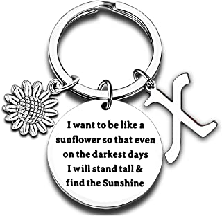 Initial Charm Keychain Sunflower Inspirational Gift 26 Letters Sunflower Gifts for Women Girls Birthday Present