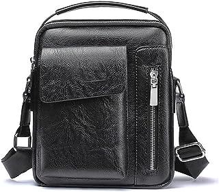 Dengyujiaasj Backpack, Daily Men Shoulder Bag Vintage Crossbody Bags Male Bag PU Leather Handbag Capacity Men Messenger Ba...