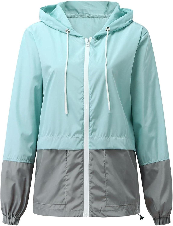 Women's Waterproof Hooded Rain Jacket Plus Size Zip Up Drawstring Raincoat Windproof Casual Lightweight Outdoor Raincoat