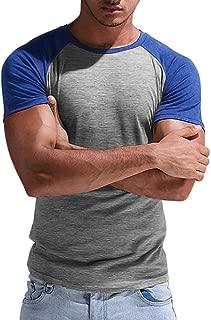 Mens Baseball T Shirt Slim Fit Short Sleeve Cotton Raglan Crew Neck Athletic Gym Muscle Shirts