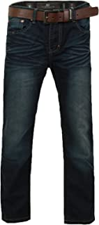 Mens Jeans Crosshatch Dark Wash Classic Fit Straight Leg Belted Trousers