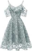 DEATU Princess Dress Women Vintage Floral Cute Lace Cocktail Neckline Ladies Party Swing Sleeveless Dress