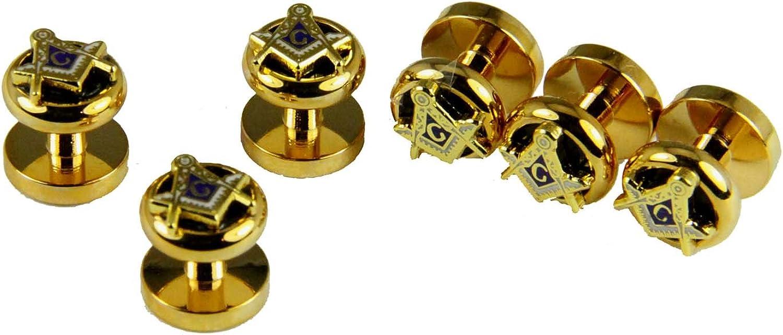 4031822 Mason Tuxedo Stud Set Shirt Studs Masonic Freemason Square Compass