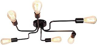 ENCOFT Vintage Lámpara de Techo en Metal Base E27, Iluminación de Techo Industrial 6 Luz Lámparas de Araña para Dormitorio Sala de Estar Cocina, Sin Bombilla Negro
