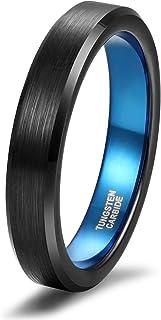 Silvery Women's & Men's Tungsten Carbide Brushed Black Wedding Engagement Rings