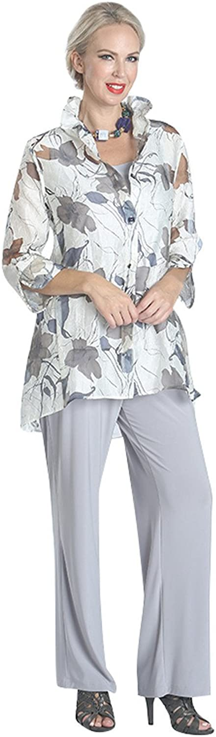 IC Collection Falling Leaves Split Cuffs Sheer Cutout Sleeves Lightweight Jacket White