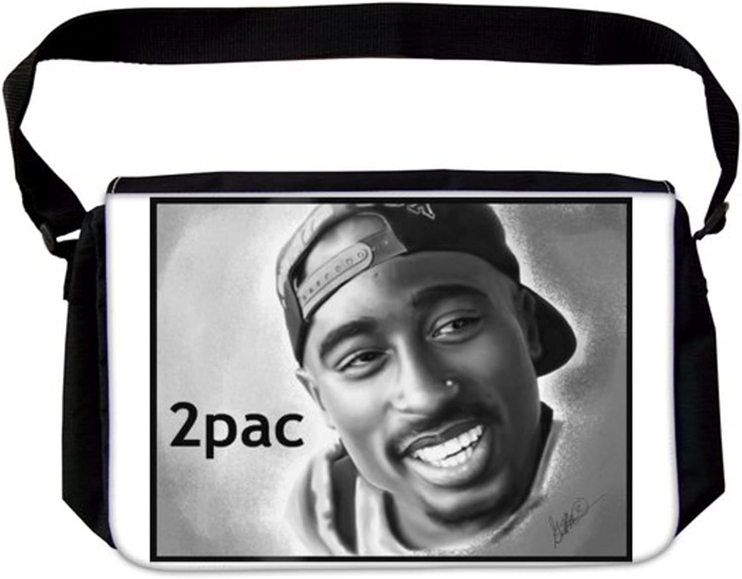 Spectacular 2Pac Tupac Shakur Smilling Happy Digital Pencil Art Drawing Artist Signed Hip Hop Rap Laptop School Bag Business Bag Casual Daypack Multiple Pockets Unisex for Men & Women