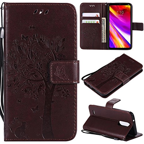 NOMO LG Aristo 2 Case,LG Tribute Dynasty Case,LG Zone 4 Wallet Case,LG K8 2018 Flip Case PU Leather Emboss Tree Cat Flowers Folio Magnetic Kickstand Cover with Card Slots for LG Aristo 2 X210 Brown