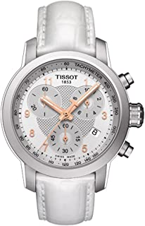 Tissot Men's Stainless Steel Swiss-Quartz Watch with Leather Strap, White, 20 (Model: T0552171603201)