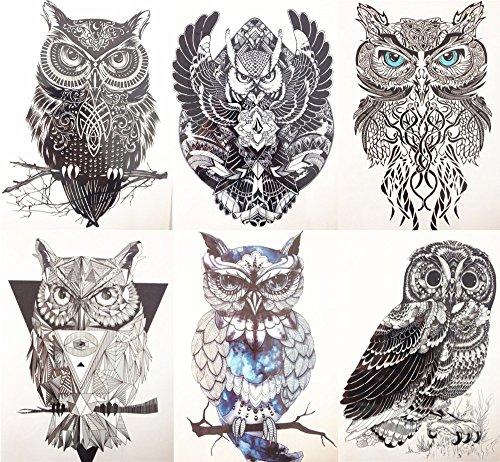 EROSPA® Tattoo-Bogen temporär - Aufkleber 6 Verschiedene Eulen im Set 15 x 21 cm