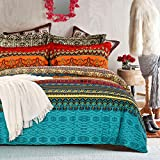 SexyTown Bohemian Comforter Set Queen Orange Ethnic Vintage Floral Reversible Winter Warm Bed Comforter Set 100% Brushed Cotton Bohemian Bedding Sets Ultra Soft and Fluffy(3pcs,Full/Queen)