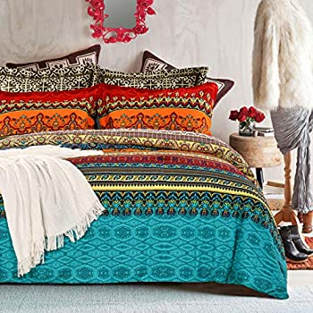 SexyTown Bohemian Comforter Set Queen Orange Ethnic Vintage Floral Reversible Winter Warm Bed Comforter Set 100% Brushed Cotton Bohemian Bedding Sets Ultra Soft and Fluffy 3pcs,Full/Queen