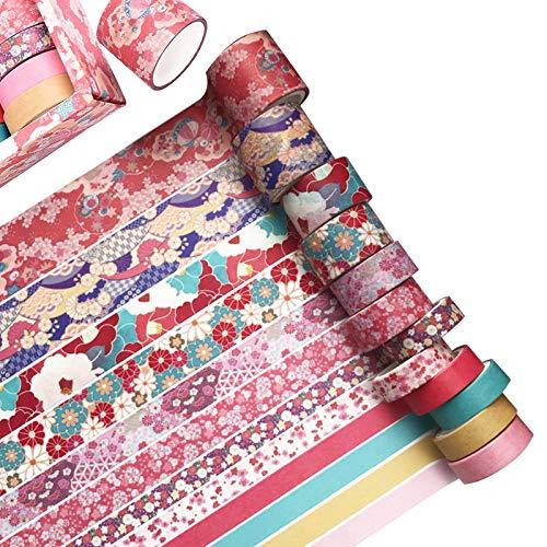 12 Rollen Washi Masking Tapes Set, Japanisches Dekoratives Beschreibbares Vintage Washi Masking Tape Für DIY Crafts Arts Scrapbooking Journal Planer Geschenk Und der...