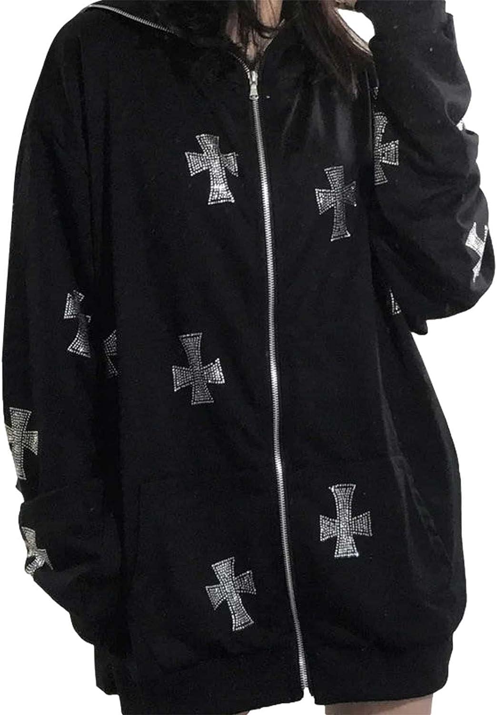 Women Rhinestone Cross Skeleton Zip Up Hoodie Sweatshirt Y2K Oversized Hoodies E Girl Streetwear