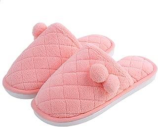Men's Slipper, Indoor Couple Slipper, Suede Fluffy Slipper with EVA Skid Resistance, Winter Warm Slipper,Pink,S