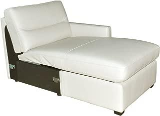 Natuzzi Editions Galileo Cream Leather Right Arm Facing Storage Chaise