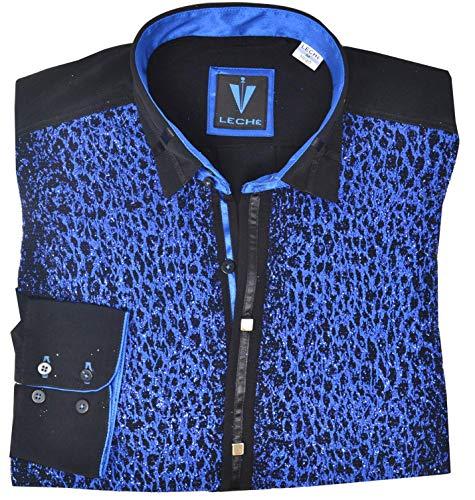 Leché Designerhemd Langarm in dunkelblauem Glitzerstoff (XL)